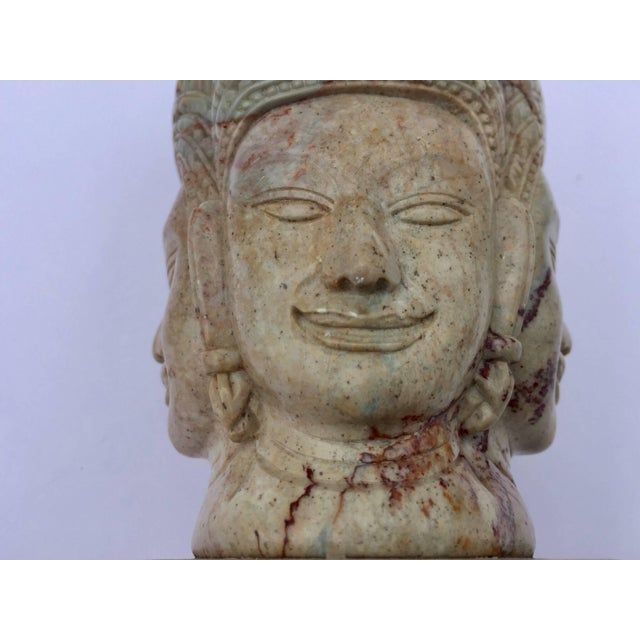 Soapstone Hand-Carved Bust of Brahma With Four Faces For Sale In Los Angeles - Image 6 of 13