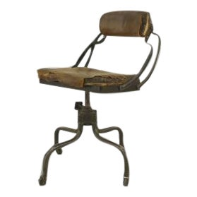 Early 20th Century American Metal and Leather Office Chair For Sale