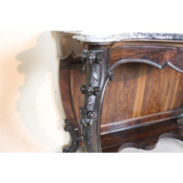 Mid 19th Century 19th Century Italian Louis Philippe Rosewood Carved Marble-Top Console Table For Sale - Image 5 of 12