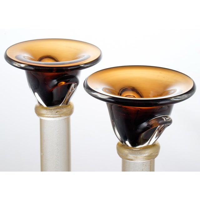 Murano Amber & Avventurina Glass Candles Holders - A Pair For Sale In Austin - Image 6 of 10