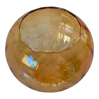 Vintage Princess House Amber Iridescent Crystal Vase Bowl For Sale