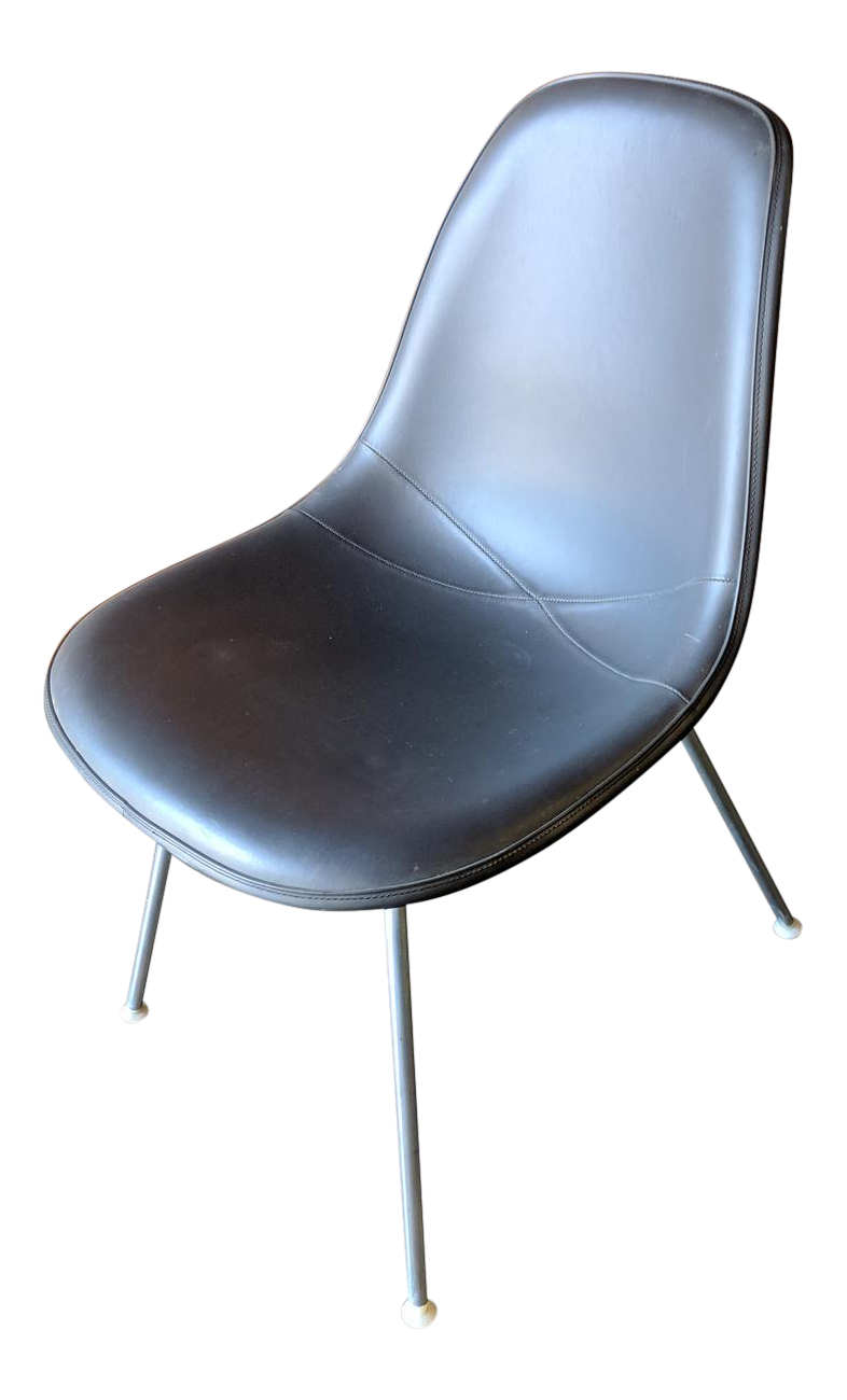 Vintage Eames Naugahyde And Fiberglass Shell Office Chair By Herman Miller
