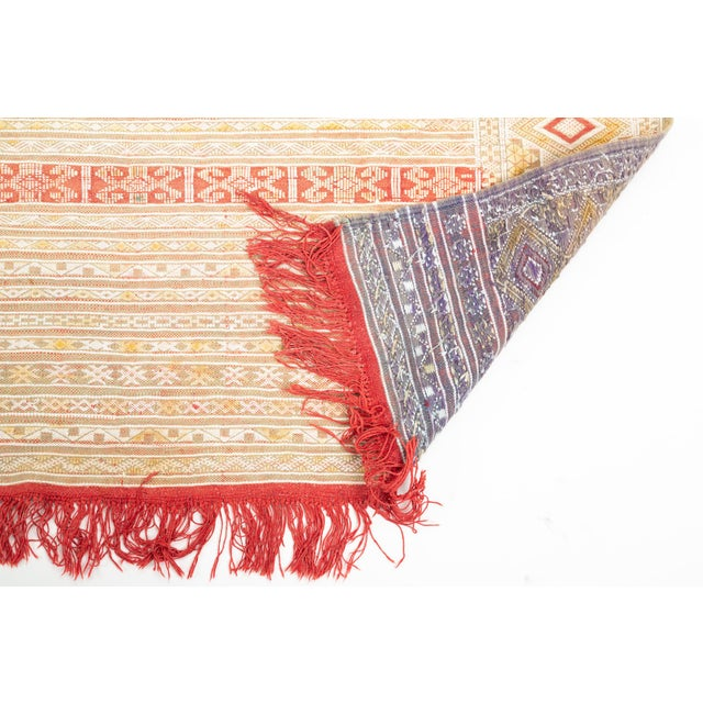 Beige Intricate Soumak Area Rug in Soft Neutral Tones; Beige, Green and Red For Sale - Image 8 of 9