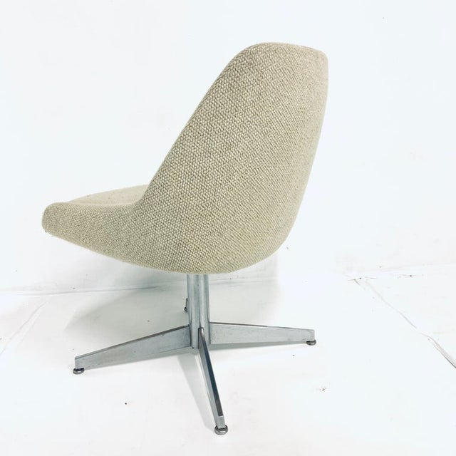 Stunning pair of Mid-Century Modern contemporary style steel base bucket chairs. Heavy weave upholstery in a beautiful...