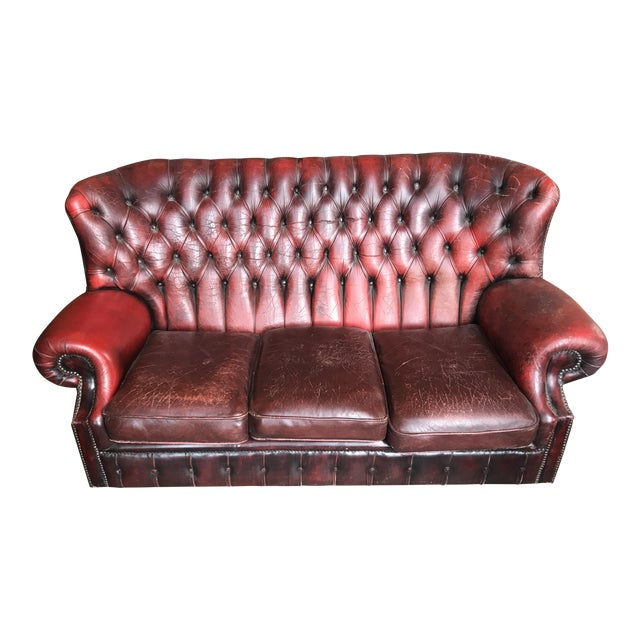 Red Leather Chesterfield Sofa - Image 1 of 5