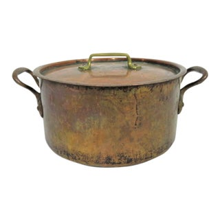 19th Century Antique French Copper Pot With Lid For Sale