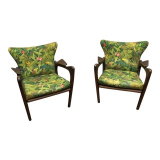 Green Adrian Pearsall Lounge Chairs - A Pair