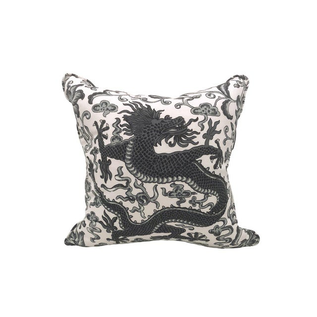 Transitional Scalamandre Chi'en Dragon Pillow, Charcoal For Sale - Image 3 of 3