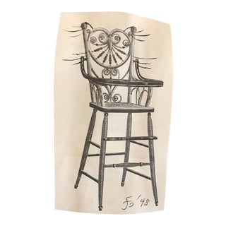 High Chair Cat Collage and Drawing by James Bone For Sale