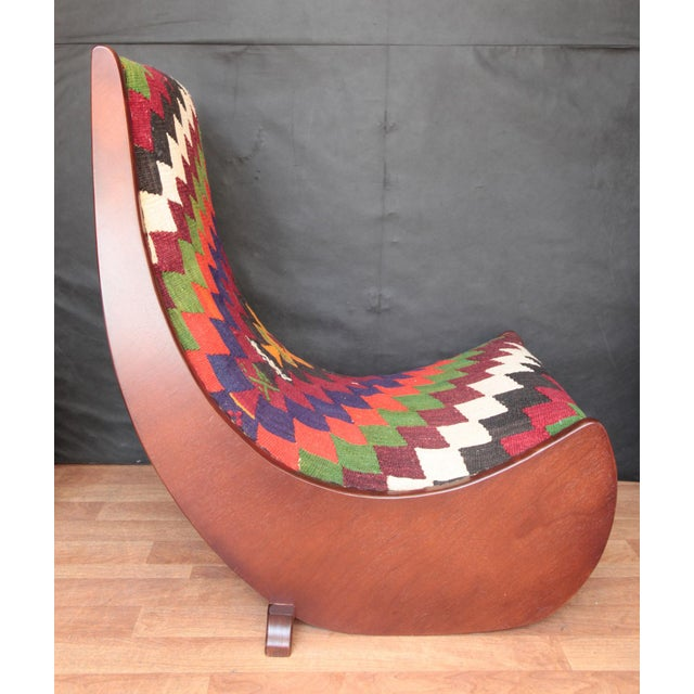 Boho Chic Wood Folding Rocking Chair For Sale In Baltimore - Image 6 of 10