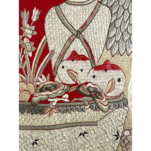 Chinese Framed Chinese Embroidery Panel of Longevity Deities For Sale - Image 3 of 13