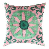Image of Turkish Green Valvet Silk Ikat Pillow For Sale