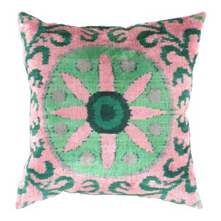 Turkish Green Valvet Silk Ikat Pillow For Sale