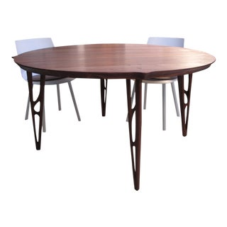 1920 Vintage Michele De Lucchi Riva Walnut Round Dining Table For Sale