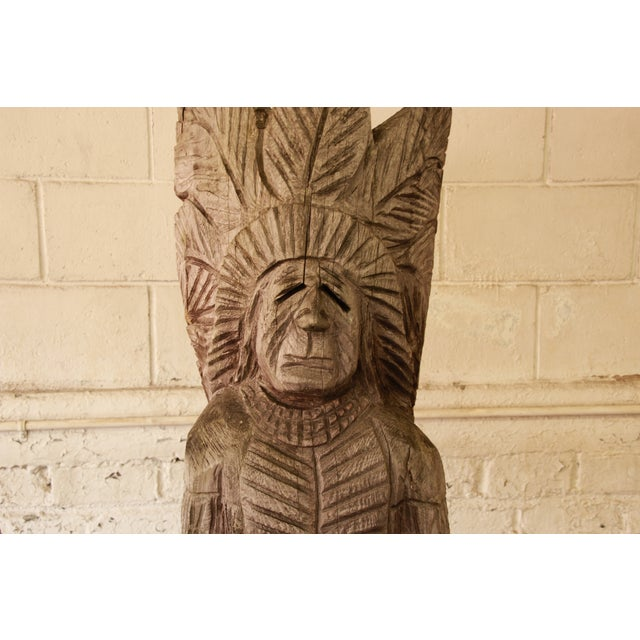 Life Size American Carved Wood Cigar Store Indian - Image 5 of 8