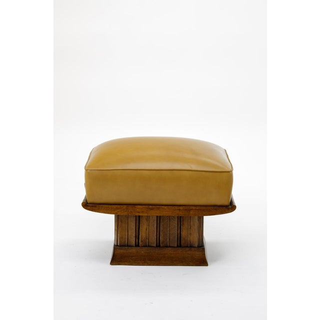 Art Deco Alfred Porteneuve Superb Stool With an Oak Carved Base and Leather Cover For Sale - Image 3 of 7