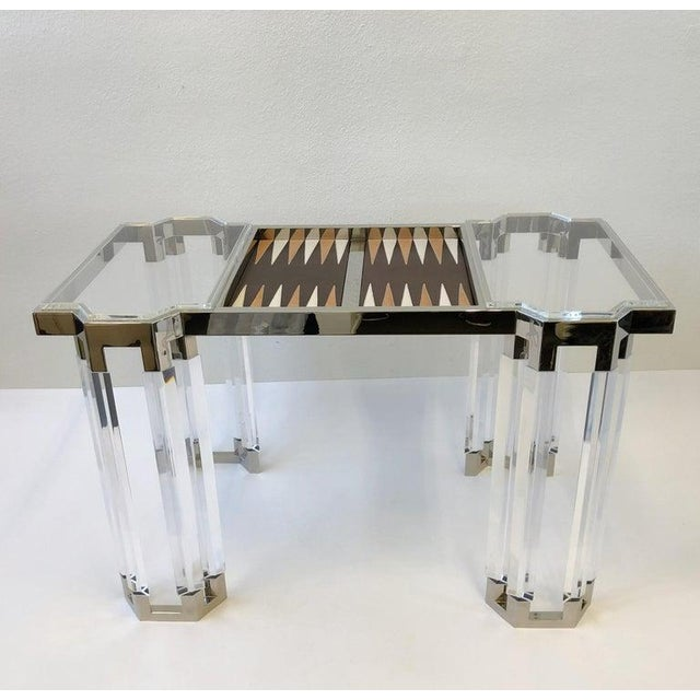 Lucite and Polish Nickel Backgammon Table by Charles Hollis Jones For Sale - Image 9 of 11