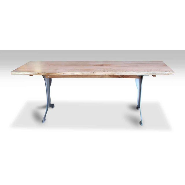 Live Edge Oak Table With Brushed Steel Legs For Sale - Image 6 of 8