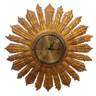 1950's Mid-Century Modern Sunburst Wall Clock For Sale