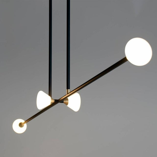 Not Yet Made - Made To Order Contemporary Matte Black Linear McKenzie and Keim Apollo Four LED Chandelier For Sale - Image 5 of 12