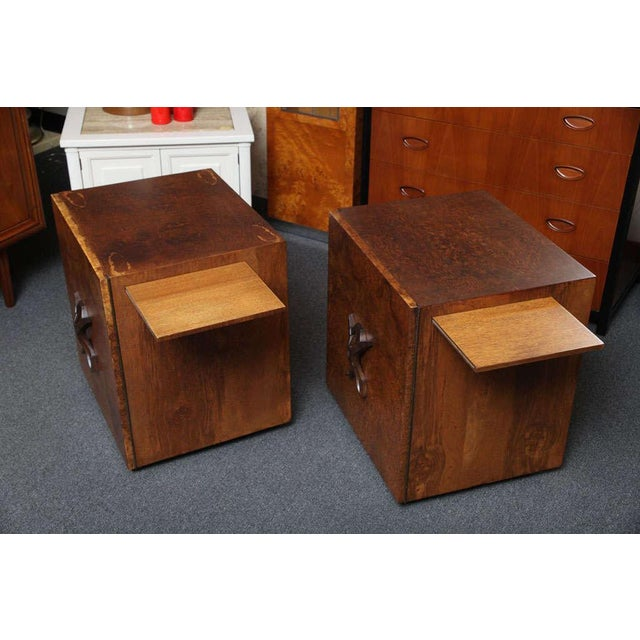 Romweber Mid Century Modern Night Stands in Exotic Burl Late 1940s, Set of Two. - Image 5 of 11