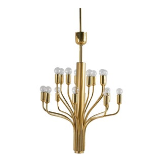 Vintage Brass Chandelier Attributed to Staff Leuchten For Sale