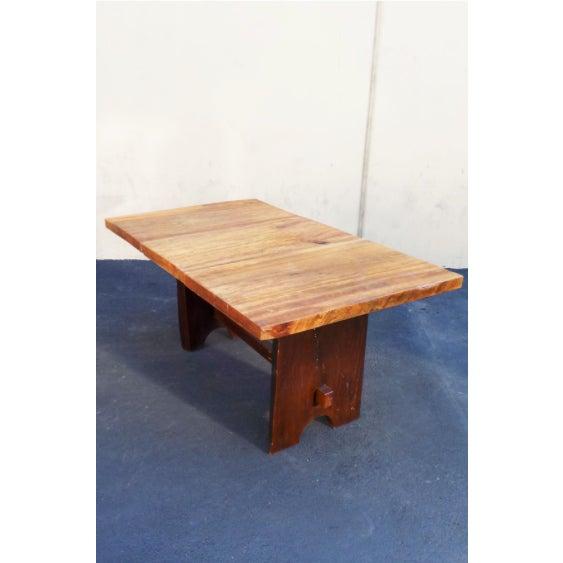 Wood Rustic Mission Wood Slab Dining Table Desk For Sale - Image 7 of 7