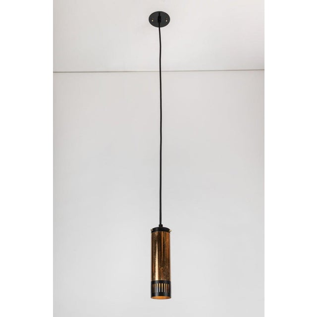 Mid-Century Modern 1950s Stilnovo Cylindrical Pendant With Yellow Label For Sale - Image 3 of 11