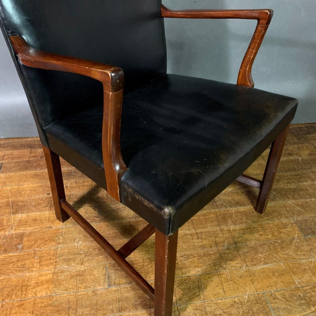 Jacob Kjær 1940s Leather and Mahogany Armchair, Denmark For Sale In New York - Image 6 of 10