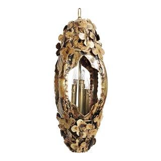 Tom Greene Brutalist Floral Brass Pendant Swag Lamp For Sale