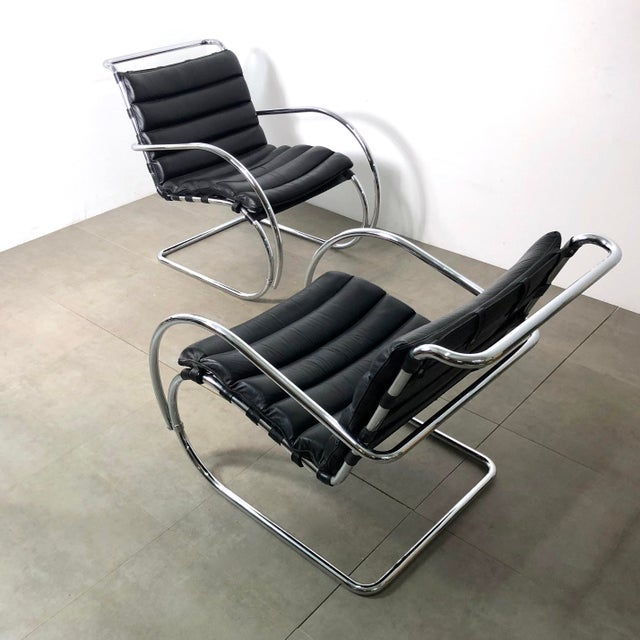 1970s Vintage 1970s Mies Van Der Rohe Style Lounge Chairs - a Pair For Sale - Image 5 of 10