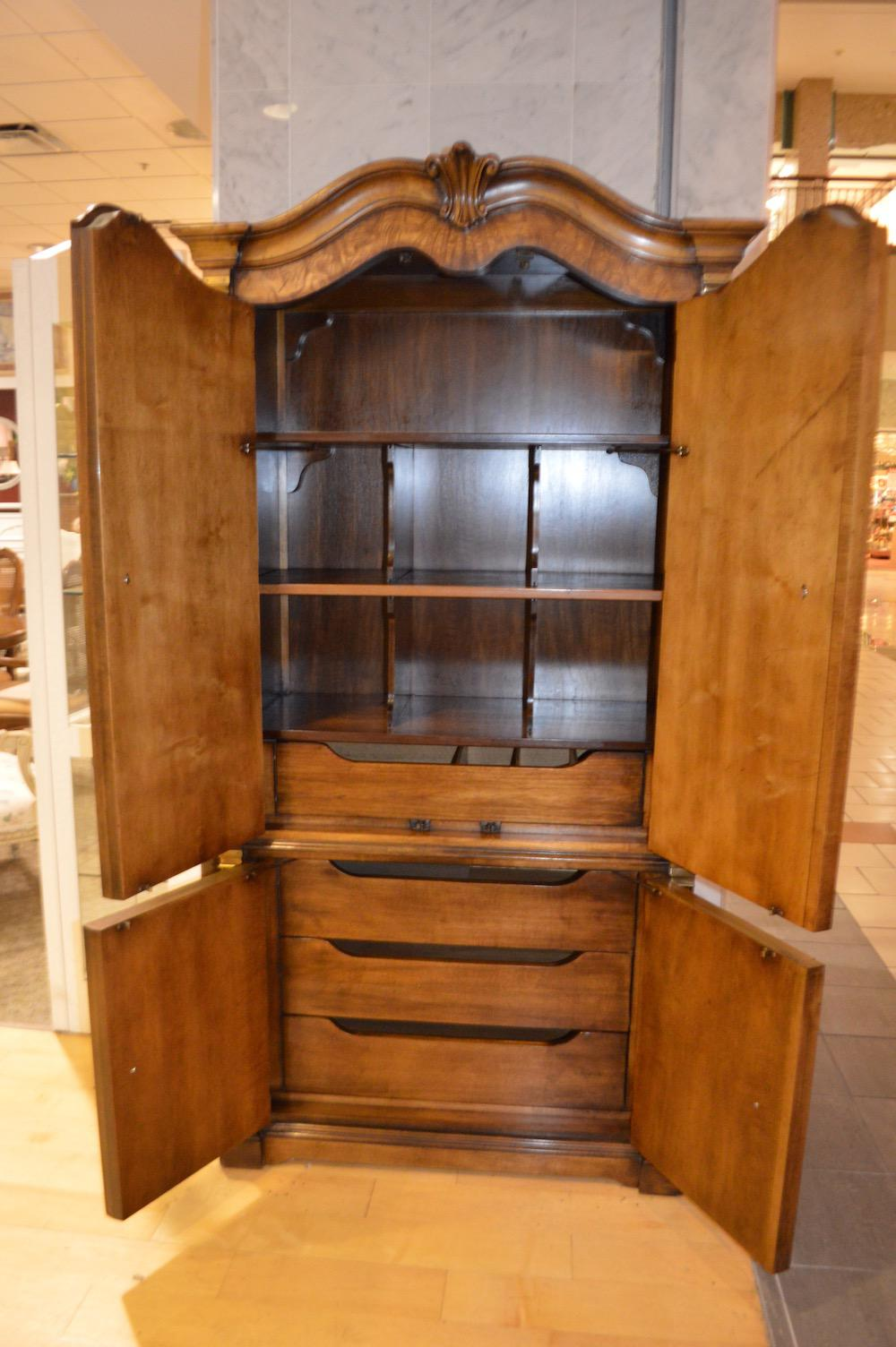 Vintage White Furniture French Country Style Burl Wood Armoire   Image 4 Of  11