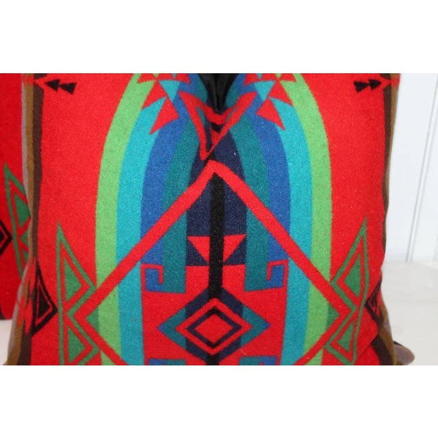 Pendleton Woolen Mills Pair of Indian Design Pendleton Camp Blanket Pillows For Sale - Image 4 of 4