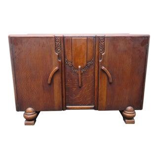 English 50s Deco Oak Server Buffet Sideboard Cabinet Cupboard For Sale