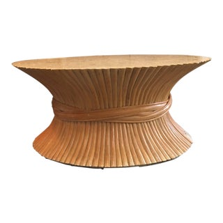 1970s Vintage McGuire Style Bamboo Wheat Sheaf Coffee Table For Sale