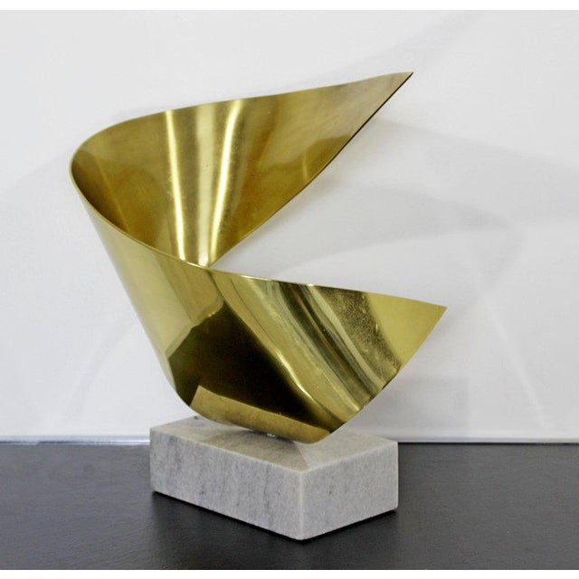 Mid-Century Modern Bronze Ribbon Marble Table Sculpture Signed James Nani 1978 For Sale - Image 12 of 13