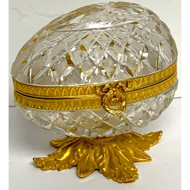 Neoclassical Baccarat Style Cut Glass and Ormolu Egg Motif Box For Sale - Image 3 of 10
