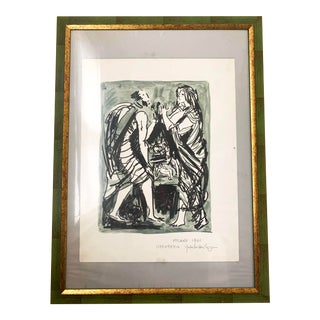 1961 Italian Framed Watercolor Ink Sketch Painting of a Roman Man and Woman Wearing Togas For Sale