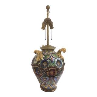 Antique Majolica Monteluce Deruta Sgraffito Lamp For Sale