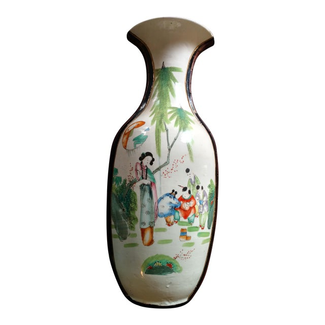 Large 23 Inches Antique Chinese Wall Pocket Vase With Asian Scene