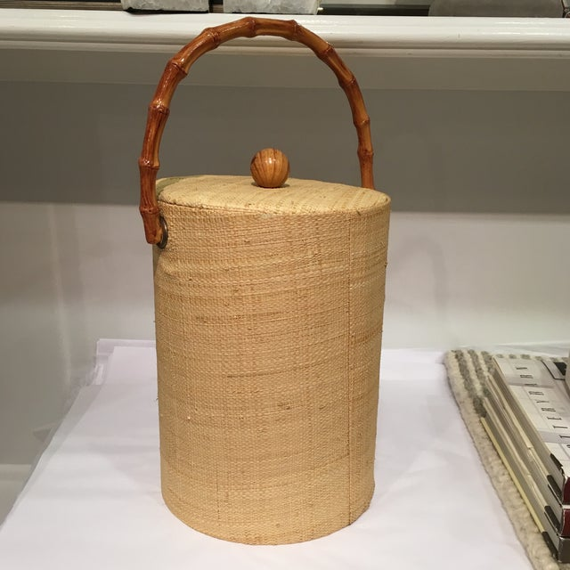 Raffia Wrapped Ice Bucket With Bamboo Handle For Sale - Image 5 of 7