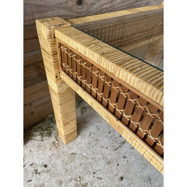1970s Vintage Wicker Wrapped Bamboo Insert Side Tables - a Pair For Sale - Image 5 of 13