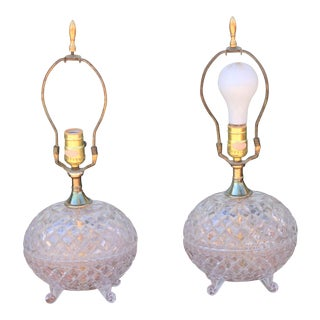 1970s Vintage Crystal Small Lamps - a Pair For Sale