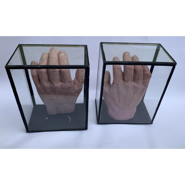 1950s 1950s Vintage Educational Model Hands in Glass Display Cabinets - a Pair For Sale - Image 5 of 7