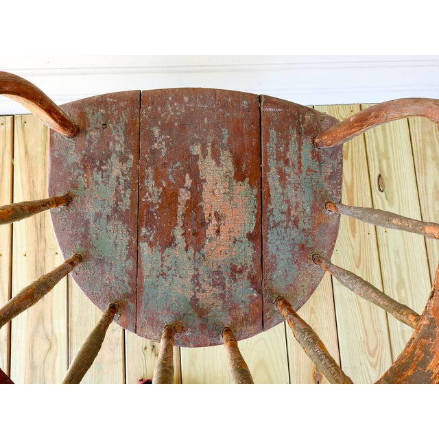 Antique Rustic Painted Saloon Chair For Sale - Image 5 of 8