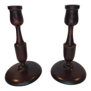 1920s Victorian Turned Mahogany Candlesticks - a Pair