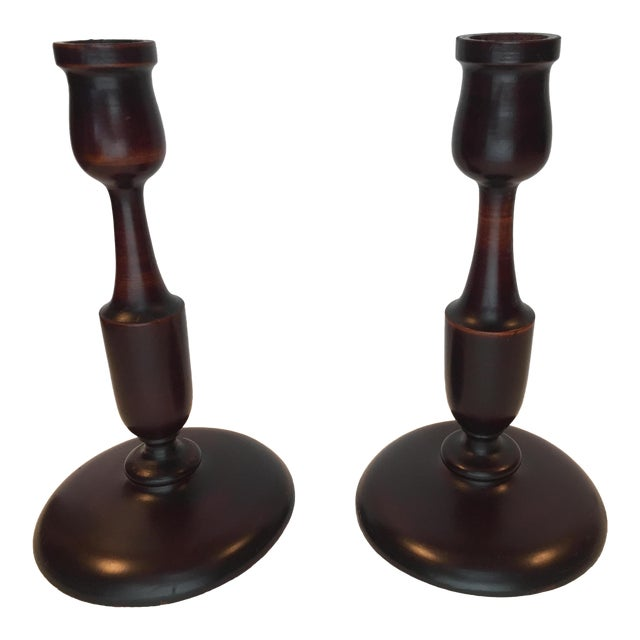 Early 20th Cent. Victorian Turned Mahogany Candlesticks - a Pair For Sale