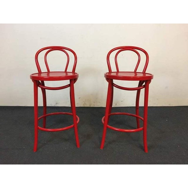 Contemporary Red Metal Bar Stools - A Pair - Image 2 of 6
