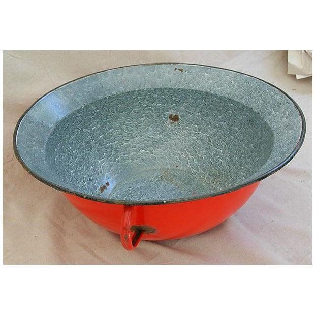 Jumbo Red European Enamelware Harvest Bowl - Image 3 of 8