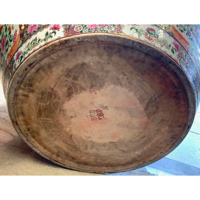 """Asian Antique Famille Rose Palace Fish Bowl 31"""" For Sale - Image 11 of 13"""